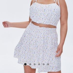 NWT Forever21+ top & skirt set, white floral, 3x